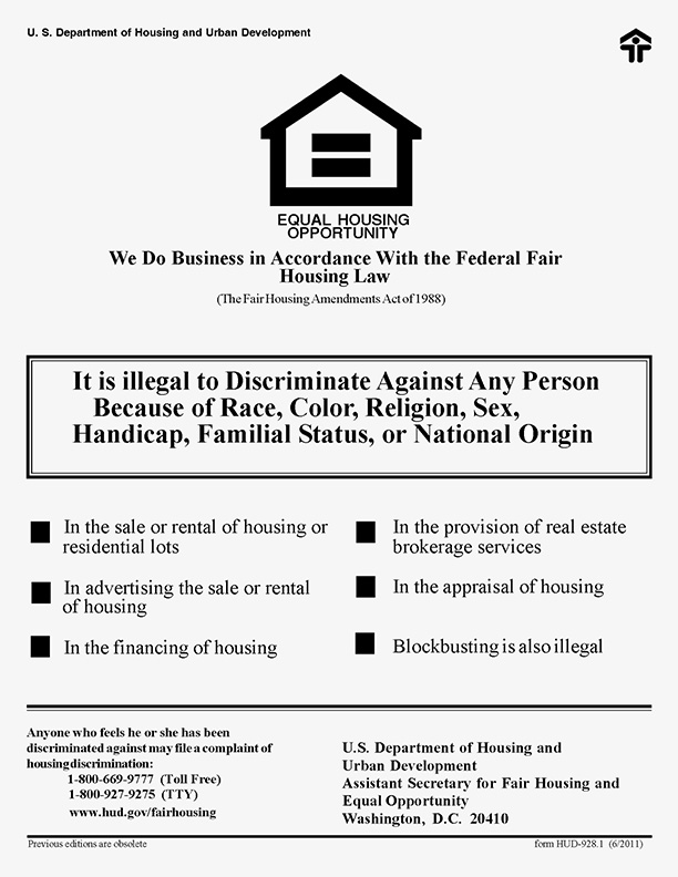 Fair Housing Poster - English